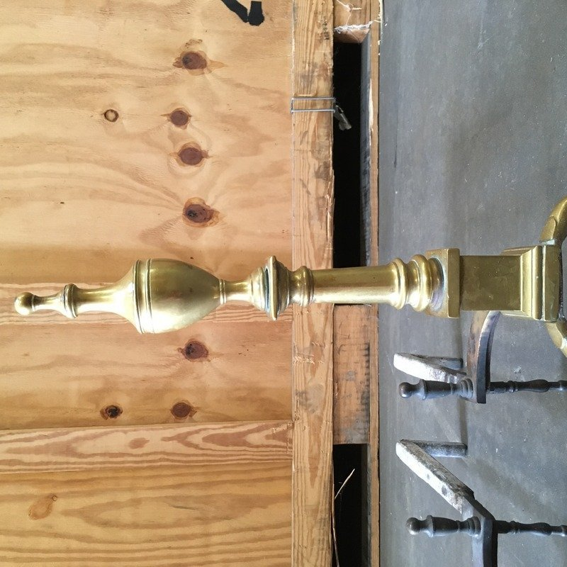 PAIR BRASS BALL & CLAW ANDIRONS - 3