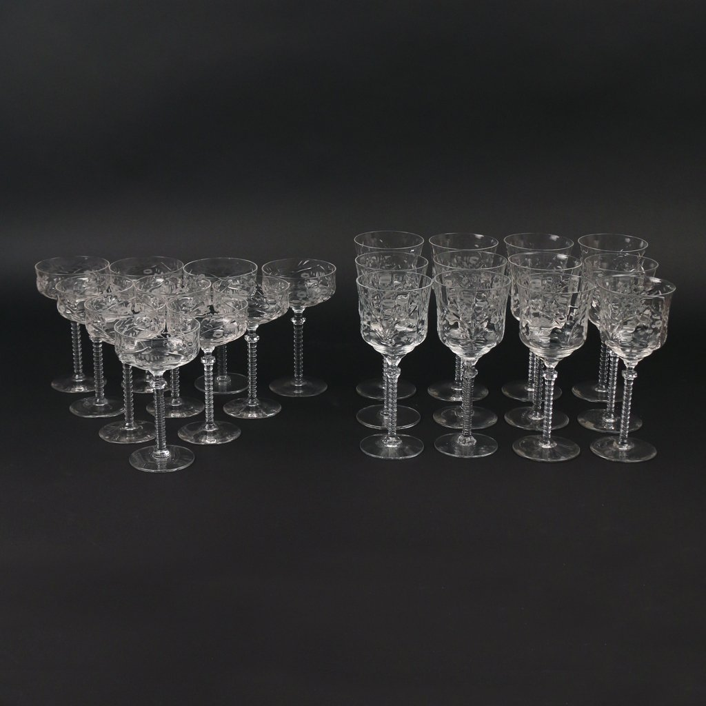 (22pc) TWO SETS CUT GLASS STEMWARE