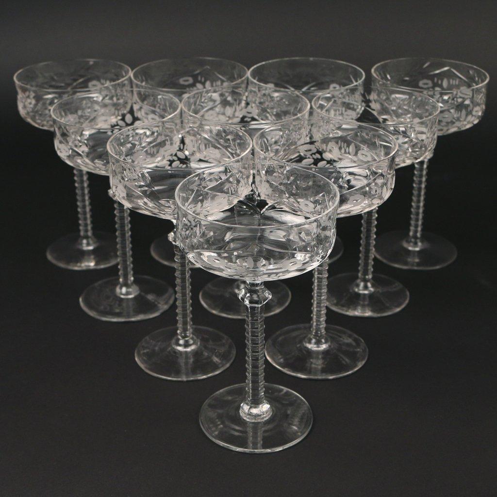 (22pc) TWO SETS CUT GLASS STEMWARE - 2