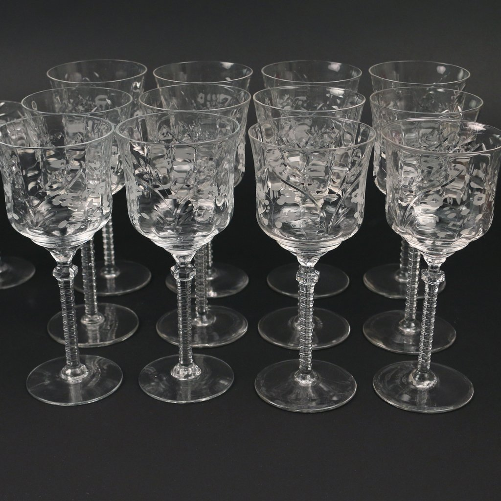 (22pc) TWO SETS CUT GLASS STEMWARE - 3