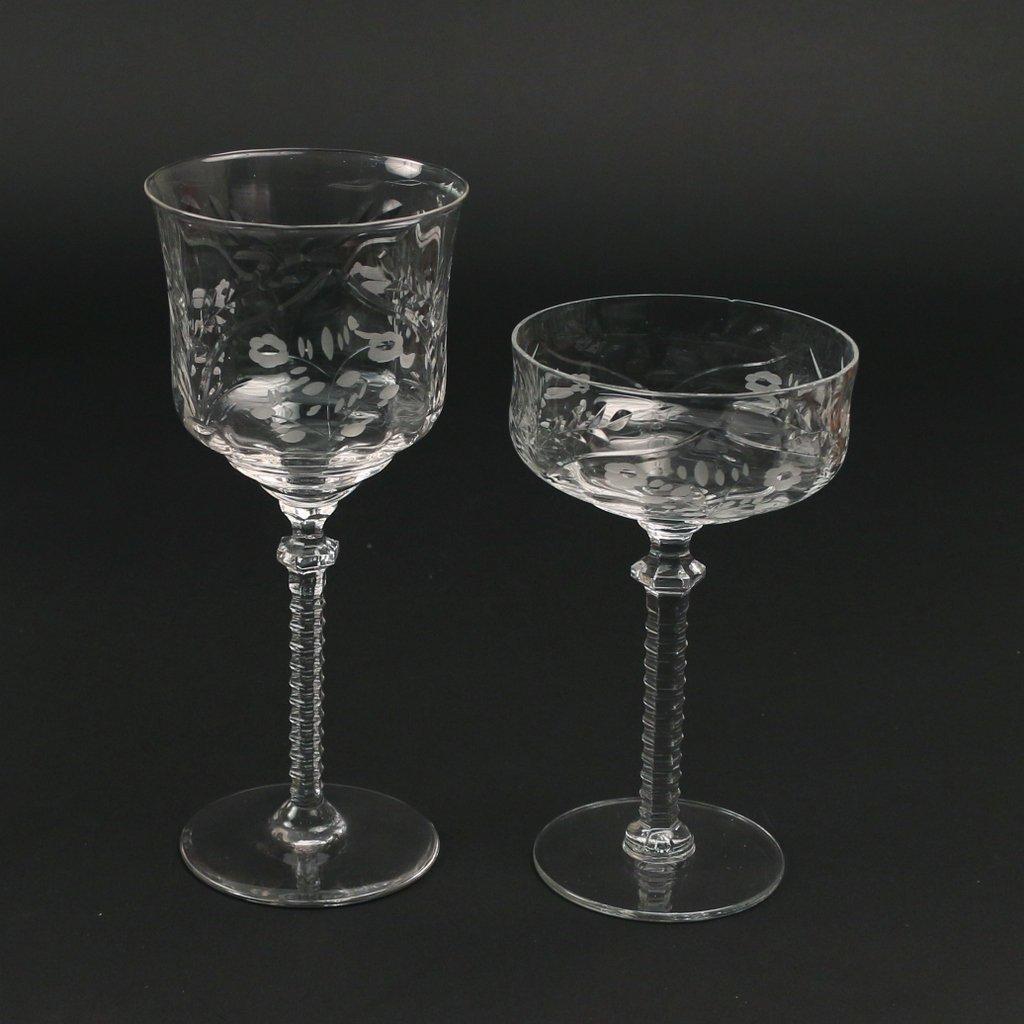 (22pc) TWO SETS CUT GLASS STEMWARE - 4