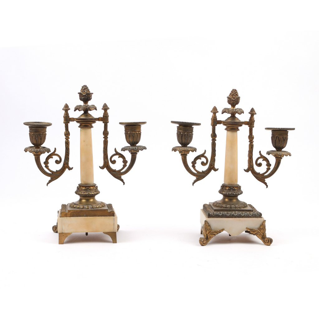 PAIR 2-LIGHT ORMOLU-MOUNTED CANDELABRAS - 2