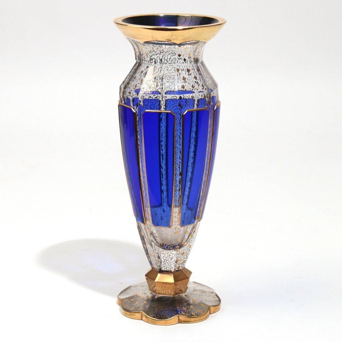 MOSER COBALT BLUE & GILT GLASS VASE