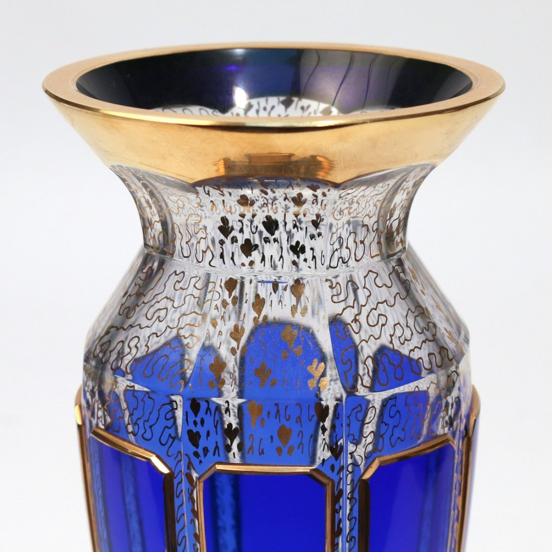 MOSER COBALT BLUE & GILT GLASS VASE - 3