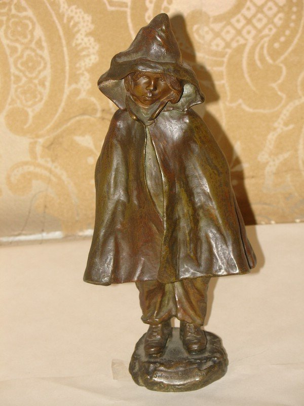 6: LATE 19TH C. BRONZE - RED RIDING HOOD TYPE FIGURE