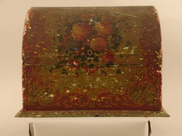 14: LATE 19/E. 20TH C. PAINT DECORATED STATIONARY BOX