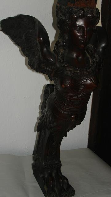 "23: CRVD. WALNU T WINGED CARYATID SUPPORT, H.29"", CON"