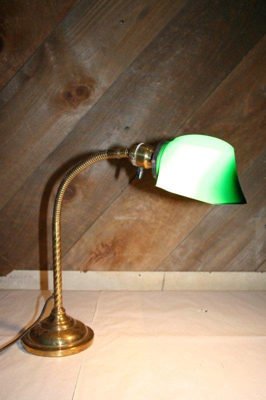 182: EMERLITE TYPE GOOSENECK TABLE LAMP, MKD. BREEZE,