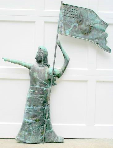 246: E. 20TH C. GODDESS OF LIBERTY FIGURAL WEATHER VAN