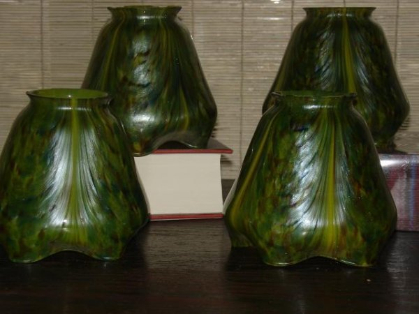 "312: SET 4 ART GLASS SHADES, H. 4"", DIA. 4 3/4"", INSID"