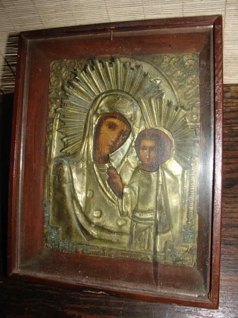 "314: FRAMED MADONNA & CHILD ICON W/OVERLAY, 9"" X 7 1/2"