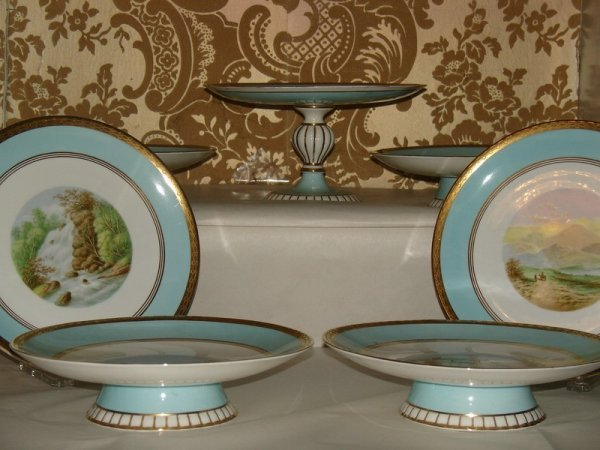 317: LATE 19TH C. HAND PAINTED SCENIC DESSERT GARNITUR