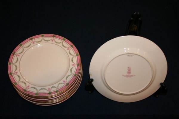 "325A: SET 12 ROYAL DOULTON 8"" DESSERT PLATES, ONLY 5 IN"