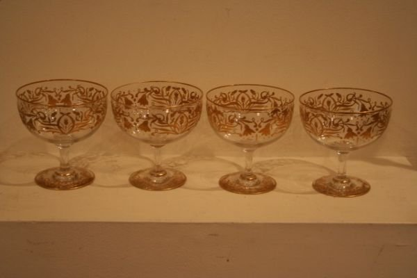 325F: SET 4-BACCARAT-TYPE DESSERT FOOTED GOBLETS W/GILT