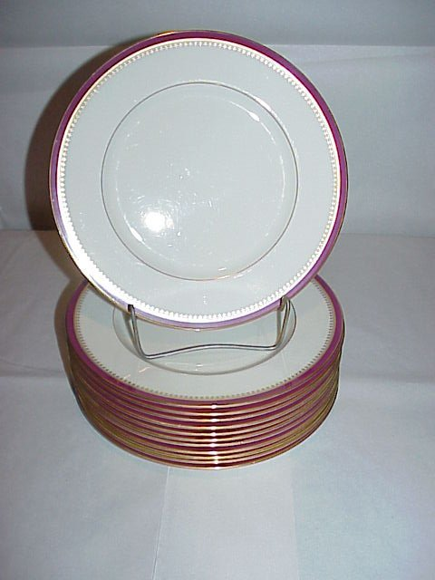 "326: SET 12 LENOX PLATES, 10 1/2"",W/GREEN MARK, RED BO"