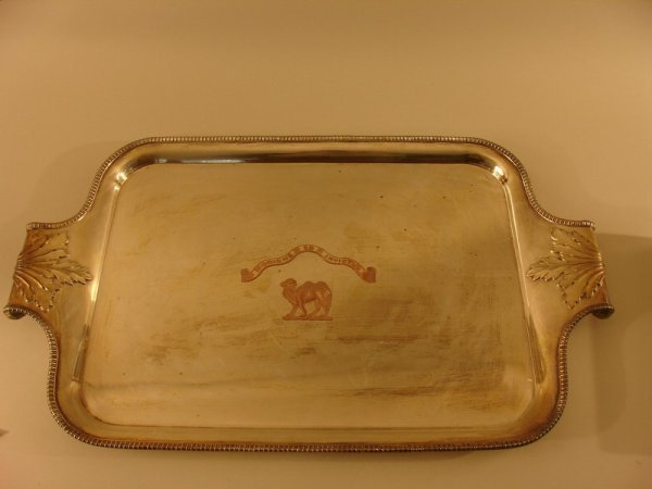 454: SHEFFIELD SILVERPLATED TRAY W/ROSING;