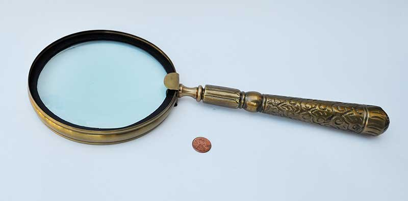 Vintage Extra Large Brass Magnifying Glass