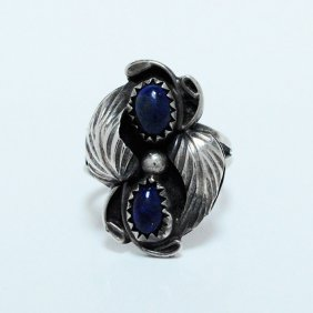 Vintage American Indian Lapis Sterling Silver Ring