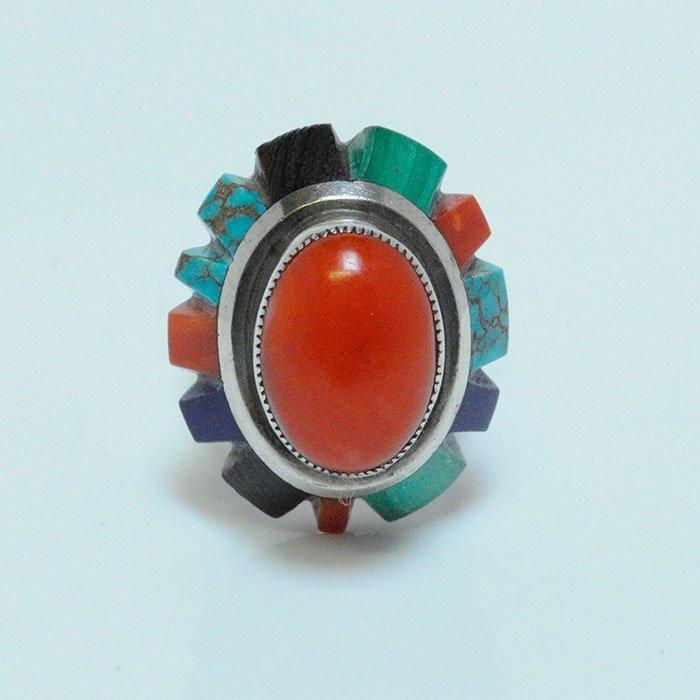 Vintage Handmade Navajo Cuppolini Ox Blood Coral Ring