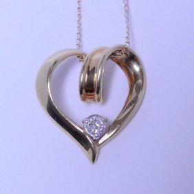 Vintage 14kt. Yellow Gold & Diamond Heart Necklace