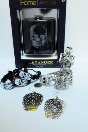 Skull Rhinestone Bracelets Earrings Lot Ihome Speaker