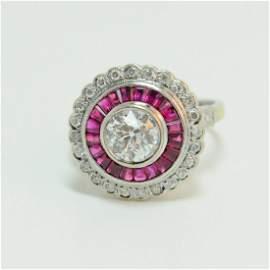 Stunning Art Deco Diamond & Red Ruby Ring
