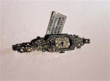 Ladies Antique Platinum Diamond Watch
