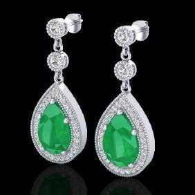6 CTW Emerald & Micro Pave VS/SI Diamond Earring