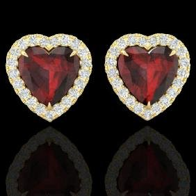 2.22 CTW Garnet & Micro Pave VS/SI Diamond Earring