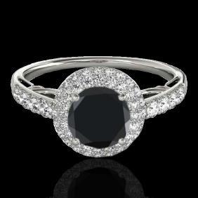 1.65 CTW Certified Vs Black Diamond Bridal Solitaire