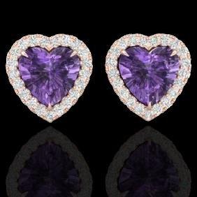 2 CTW Amethyst & Micro Pave VS/SI Diamond Earring Heart
