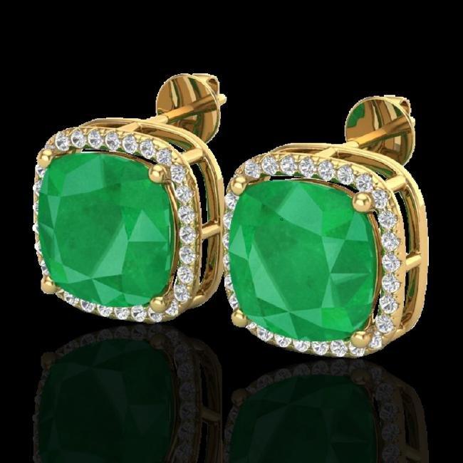 12 CTW Emerald & Micro Pave Halo VS/SI Diamond Earring