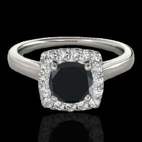 1.37 CTW Certified Vs Black Diamond Bridal Solitaire