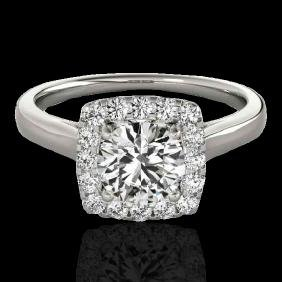 1.37 CTW G-Si Certified Diamond Bridal Solitaire Halo