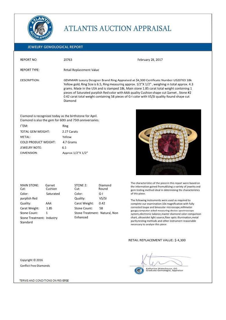 2.27 CTW Garnet & Micro VS/SI Diamond Certified Pave - 3