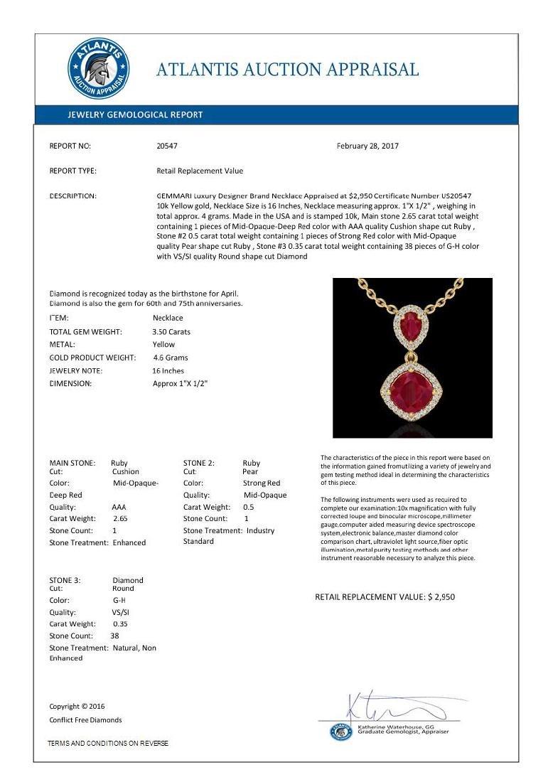 3.50 CTW Ruby & Micro Pave VS/SI Diamond Certified - 3