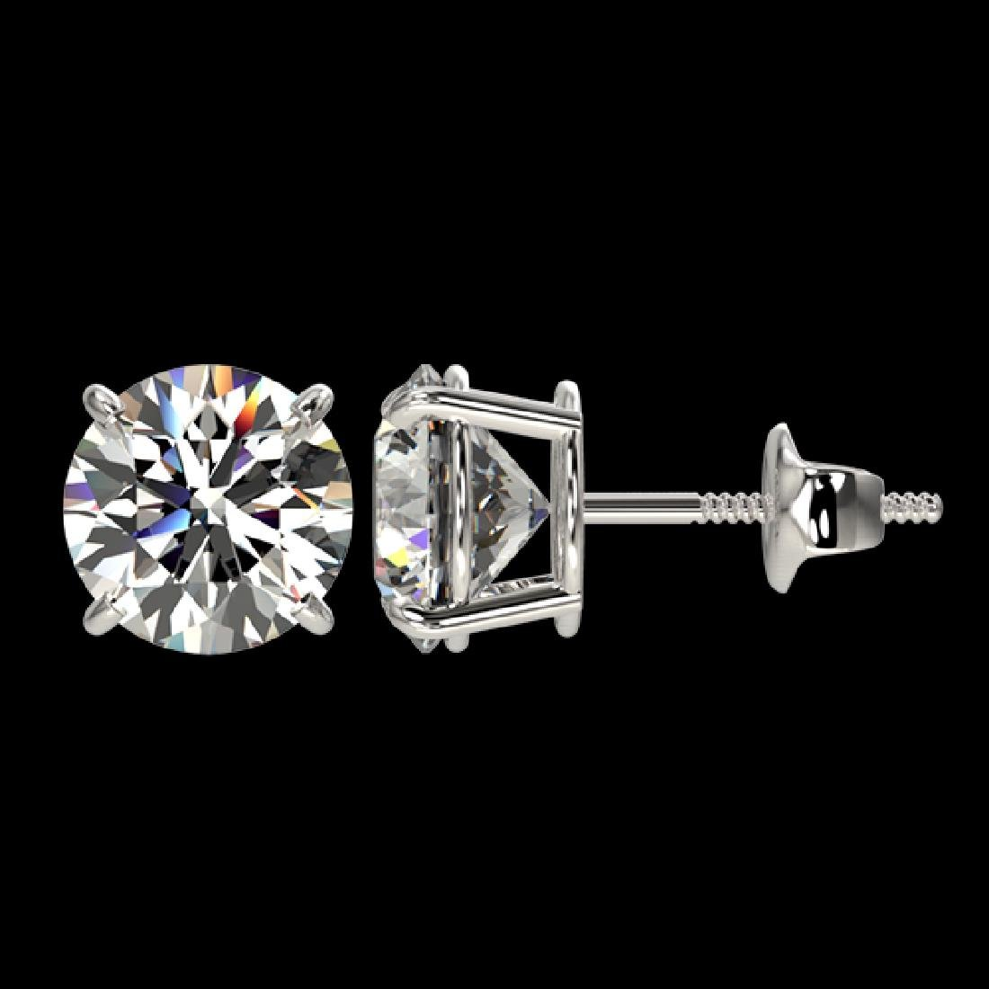 2.55 CTW Certified G-Si Quality Diamond Solitaire Stud - 2