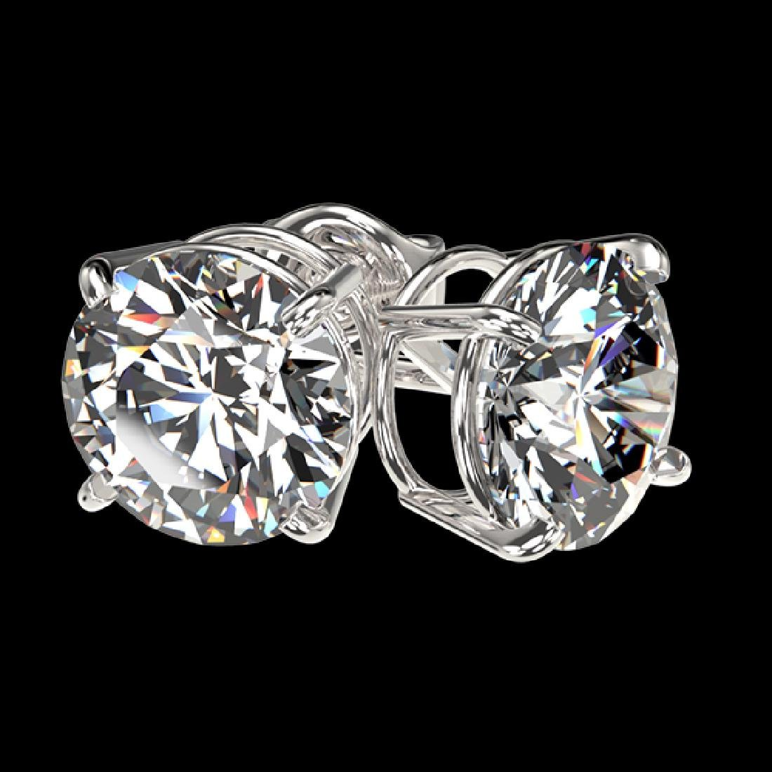 2.55 CTW Certified G-Si Quality Diamond Solitaire Stud - 3