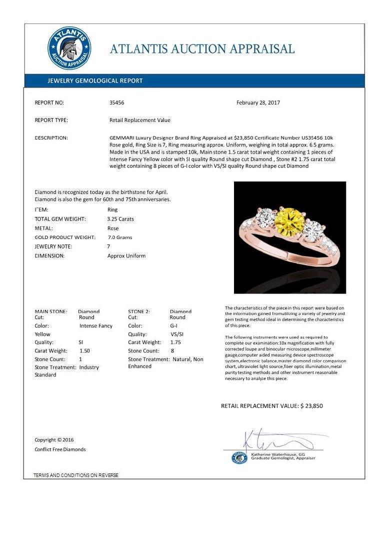 3.25 CTW Certified Si Fancy Intense Yellow Diamond 3 - 3