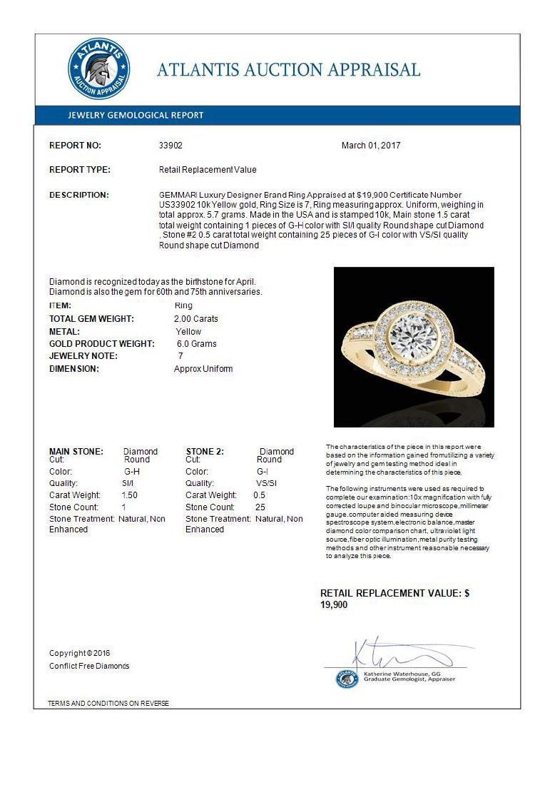 2 CTW G-Si Certified Diamond Bridal Solitaire Halo Ring - 3