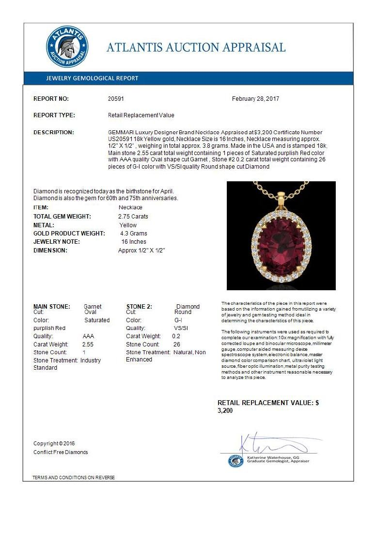 2.75 CTW Garnet & Micro VS/SI Diamond Halo Solitaire - 3