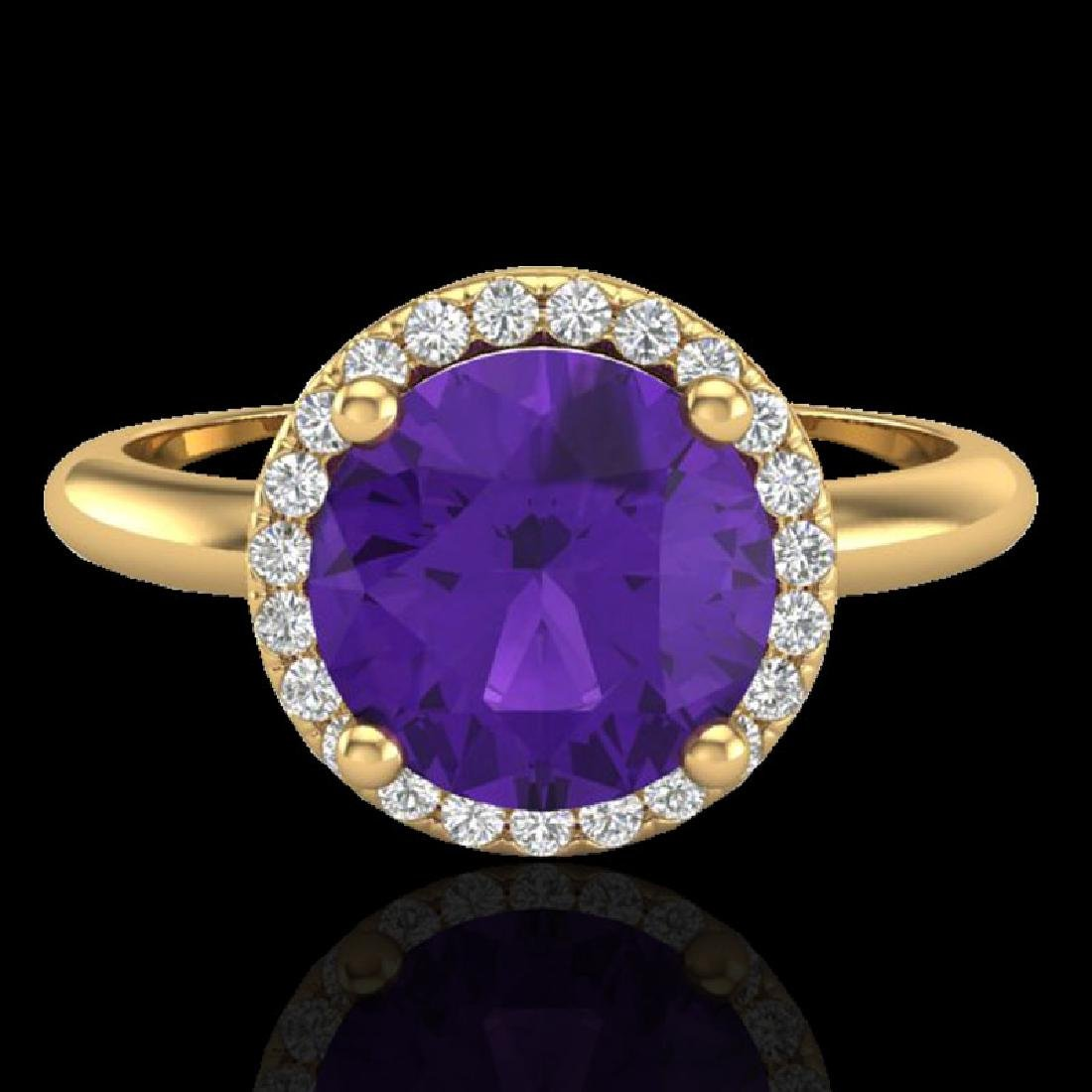 2 CTW Amethyst & Micro Pave VS/SI Diamond Certified