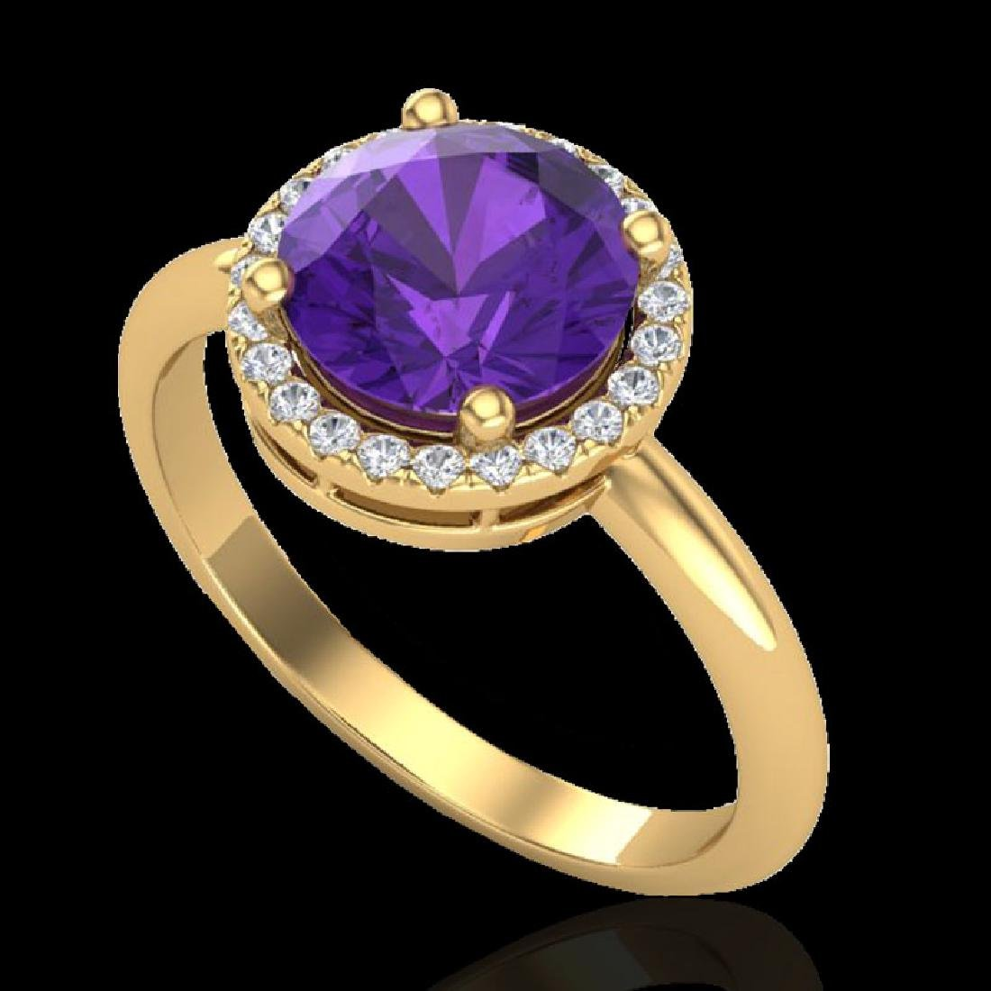 2 CTW Amethyst & Micro Pave VS/SI Diamond Certified - 2