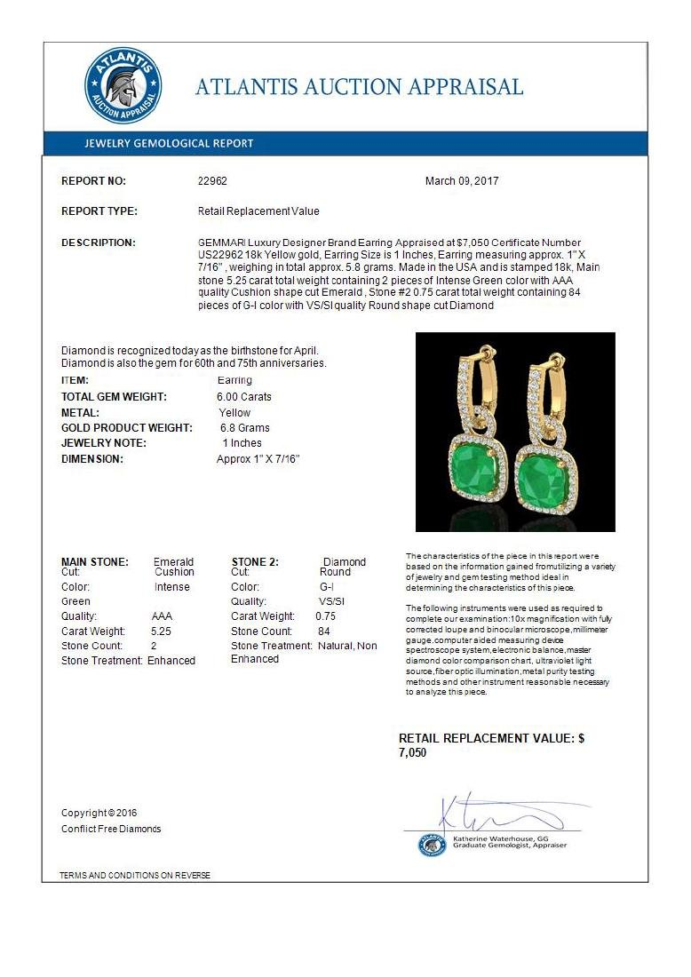 6 CTW Emerald & Micro Pave VS/SI Diamond Certified - 3