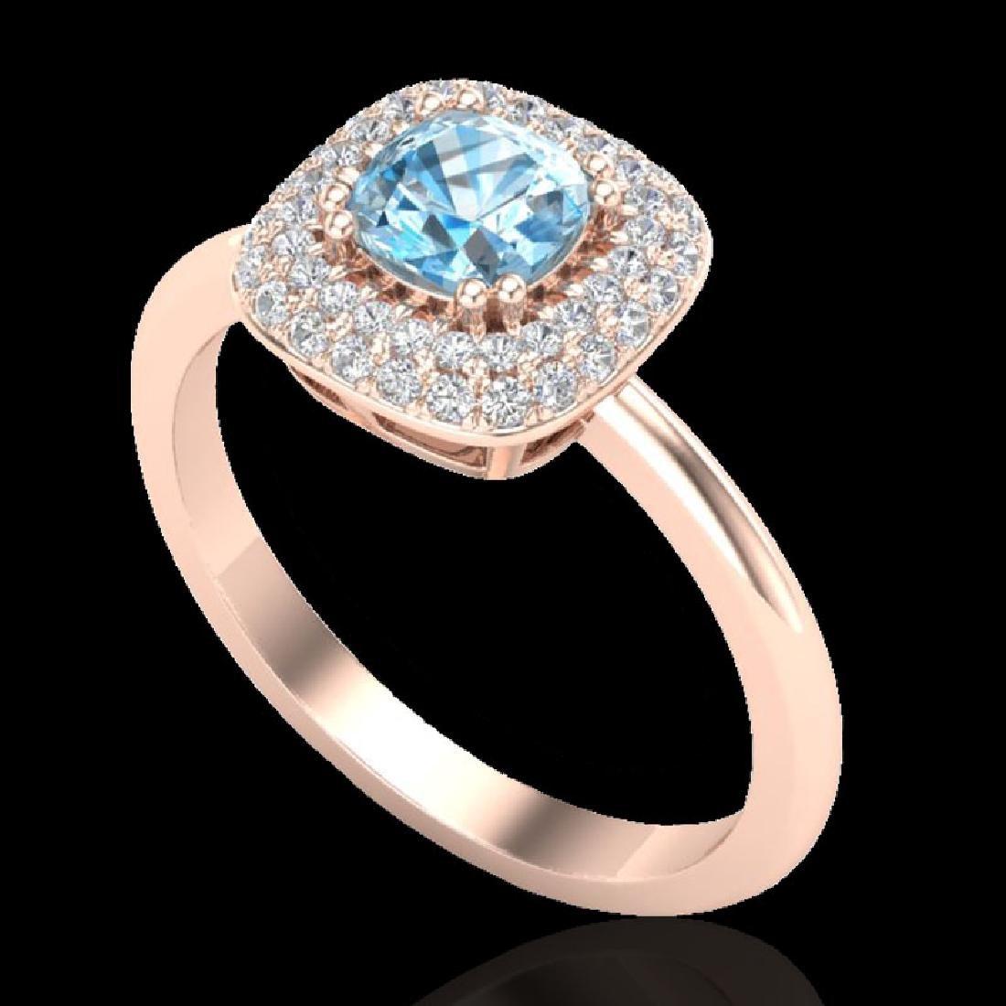 1.16 CTW Sky Blue Topaz & Micro VS/SI Diamond Ring - 2