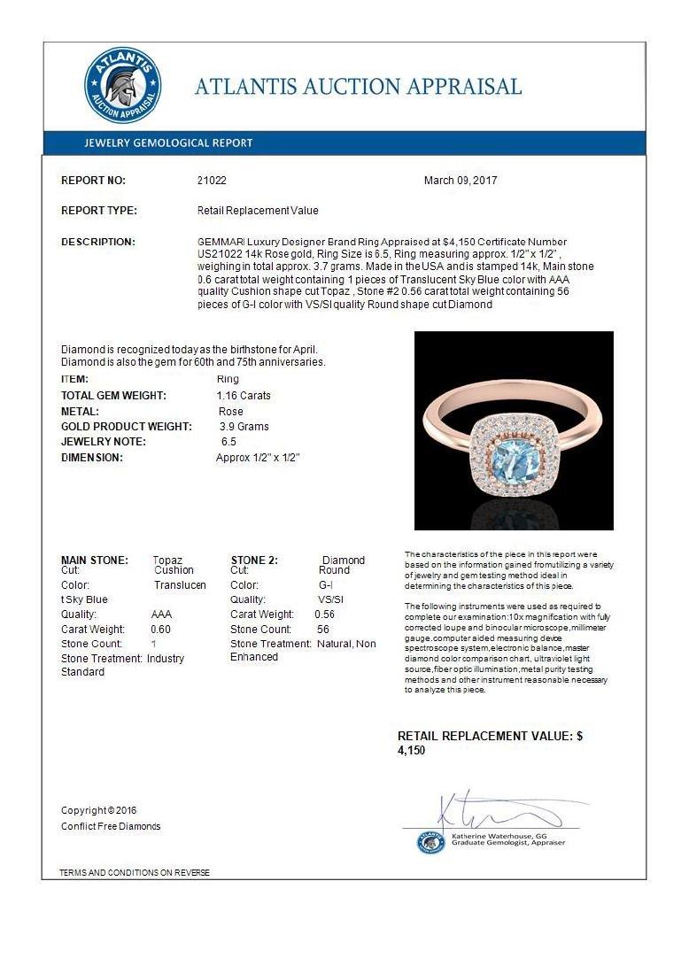 1.16 CTW Sky Blue Topaz & Micro VS/SI Diamond Ring - 3
