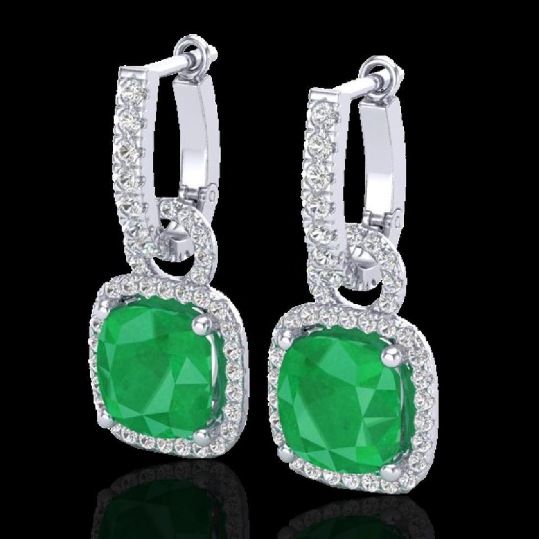 6 CTW Emerald & Micro Pave VS/SI Diamond Certified