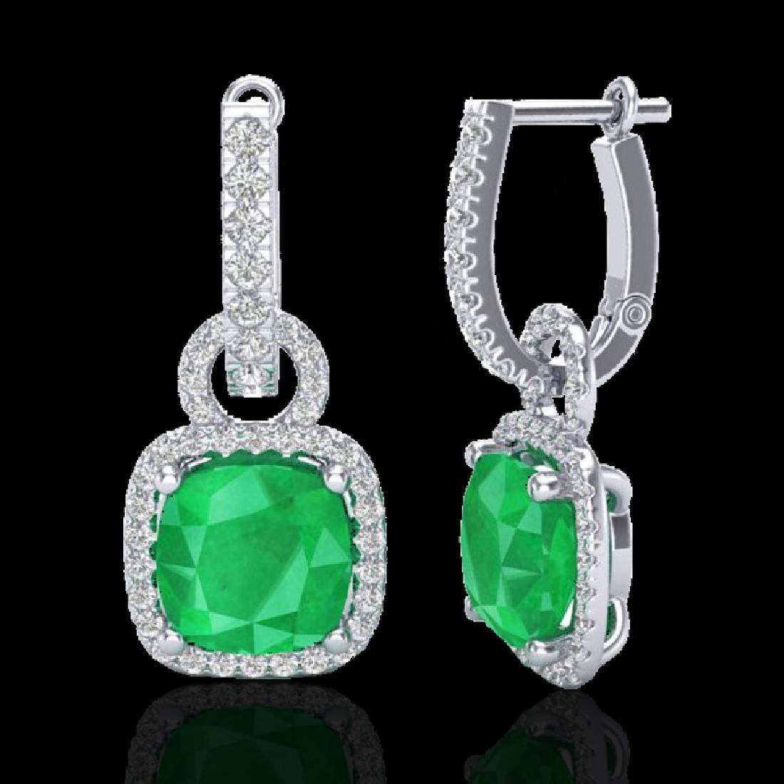6 CTW Emerald & Micro Pave VS/SI Diamond Certified - 2