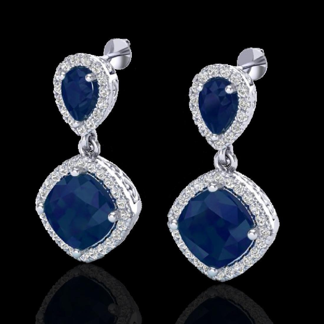 7 CTW Sapphire & Micro Pave VS/SI Diamond Earring