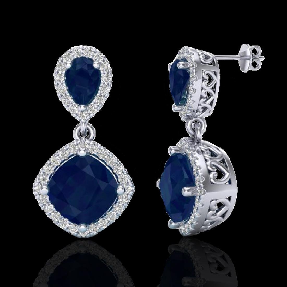 7 CTW Sapphire & Micro Pave VS/SI Diamond Earring - 2